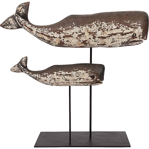 Wood Whales on Stand