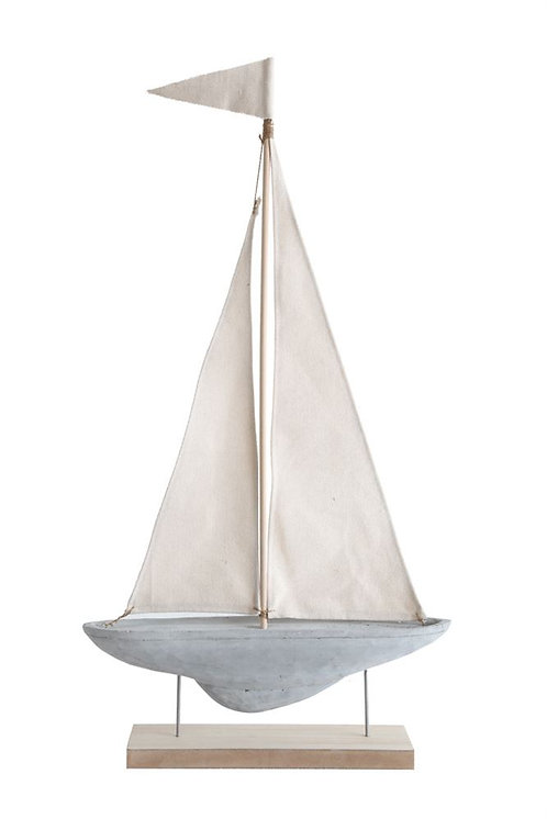 Cement & Fabric Sailboat on Stand