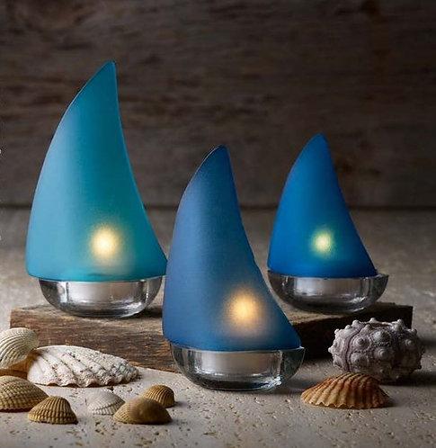 Glass Sailboat Tealight Set
