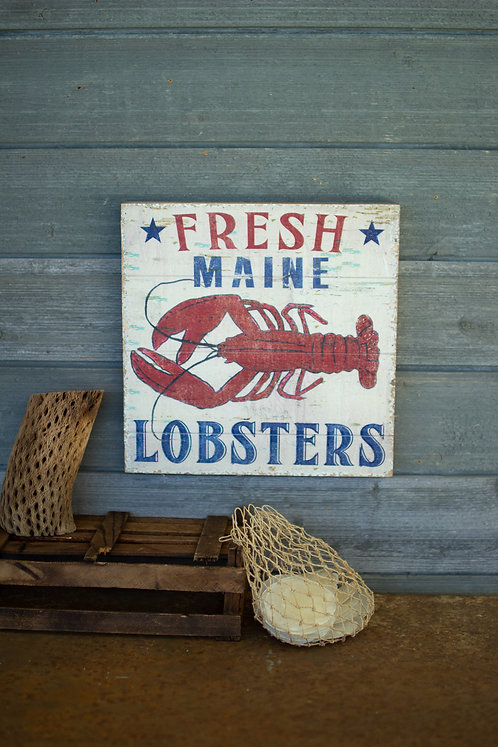 Fresh Maine Lobster Wood Sign