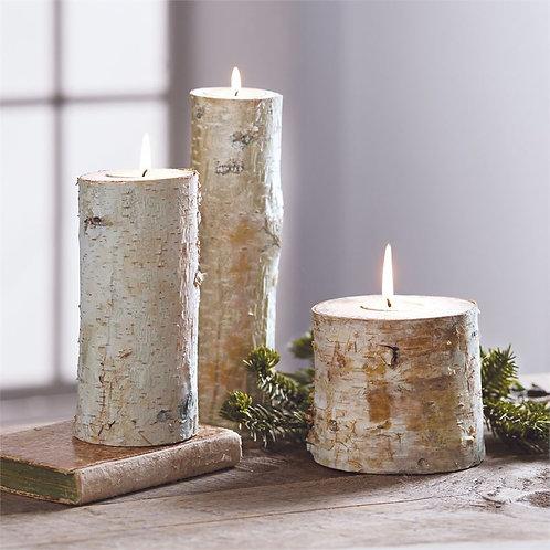 Birch Bark Tea Light Set