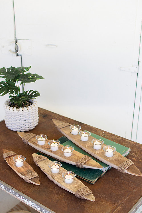 Recycled Wood Boat Votive Holder