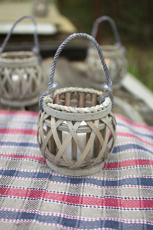 Small Willow Lantern w/Glass Insert