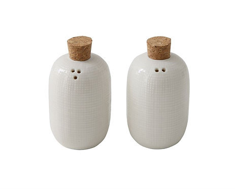 Embossed Ceramic Salt & Pepper Set
