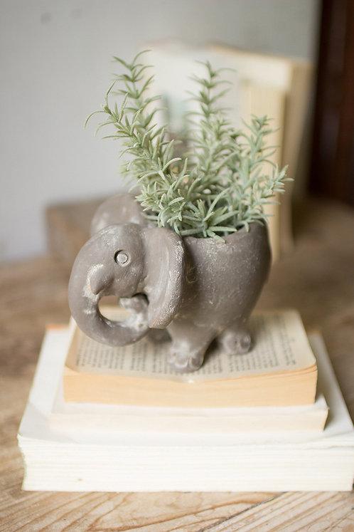 Clay Elephant Planter