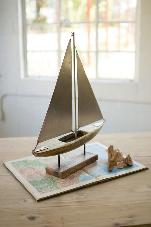 Wood & Metal Sailboat on Stand