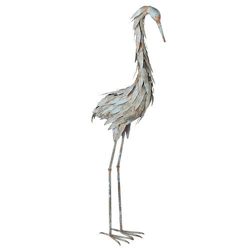 Weathered Blue Metal Heron