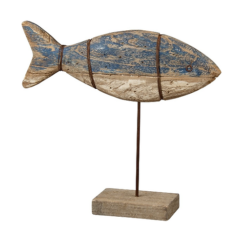 Wood Fish on Stand