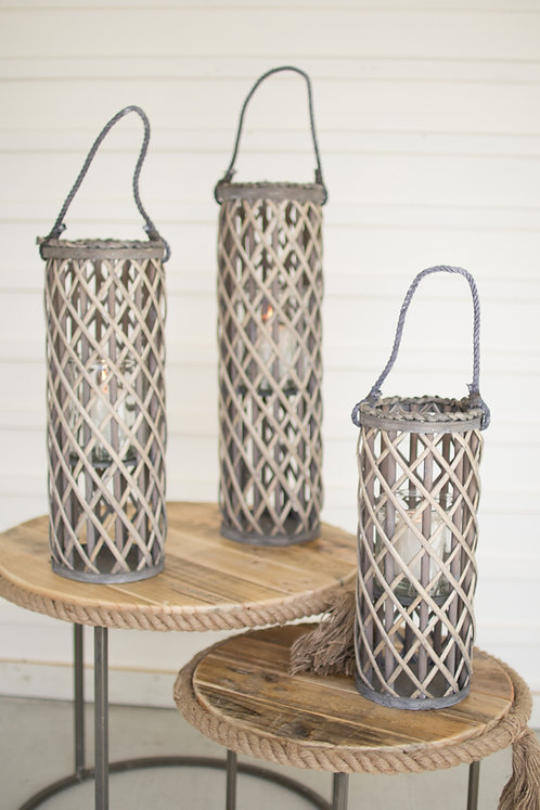 Tall Grey Willow Lantern w//Glass Insert