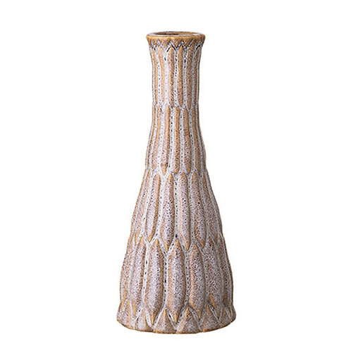 Taupe Ribbed Bud Vase