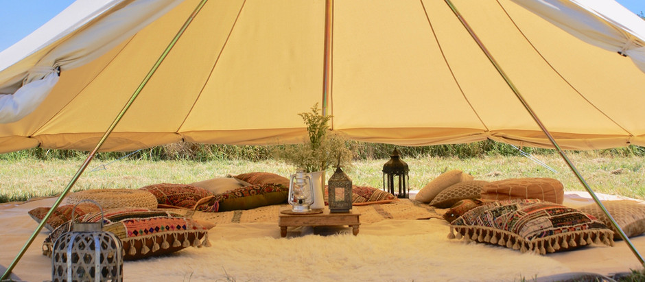 Stylish outdoor picnic parties -  Garden party dining experiences with bell tents and tipis