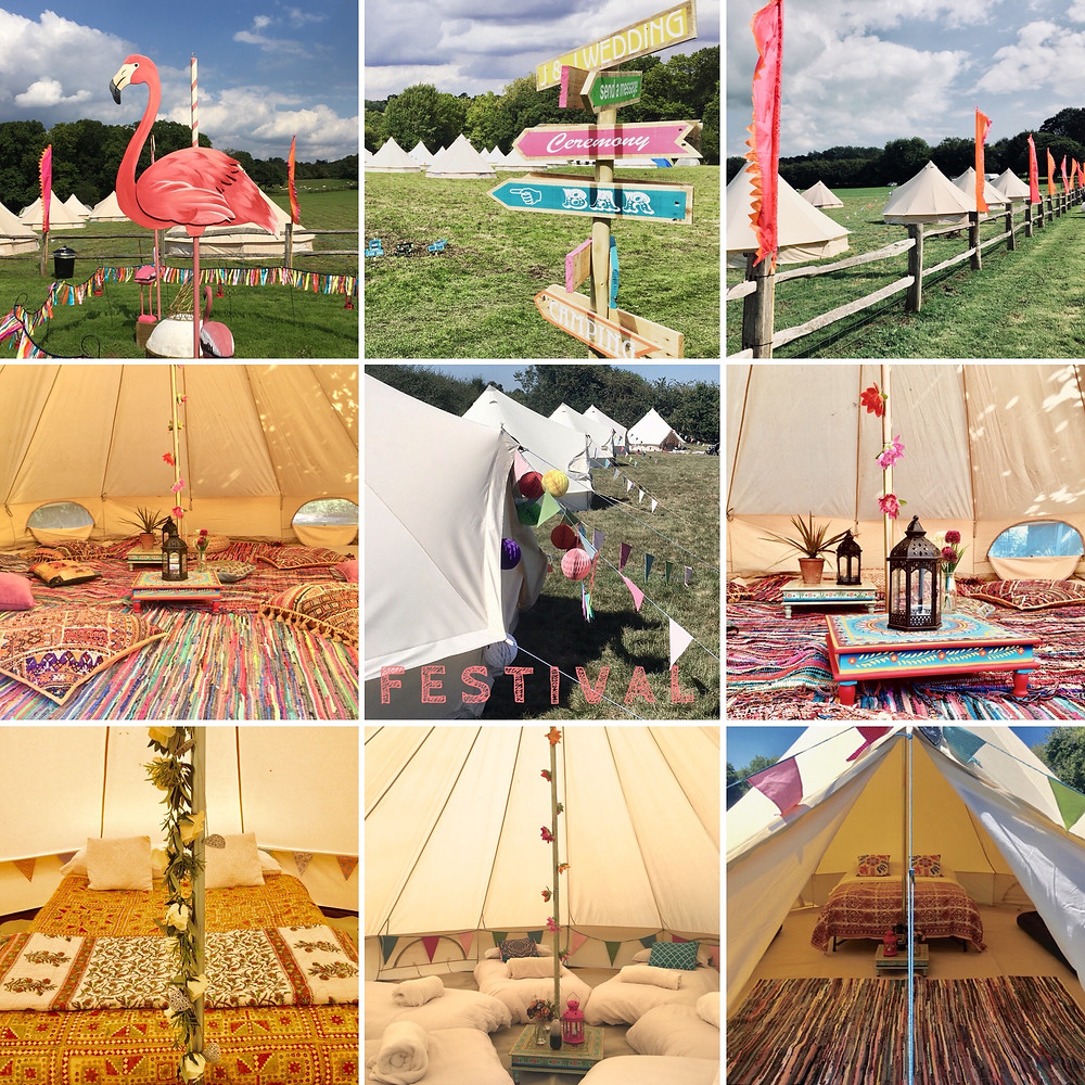 Bell tent festival wedding village