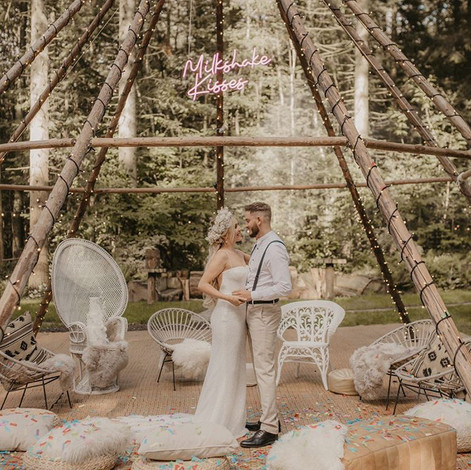 Naked tipi wedding ceremony