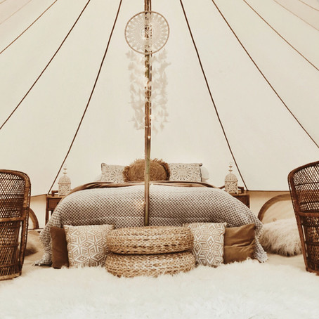 Wedding bell tents - Nordic boho to festival style - bell tent interiors & decor