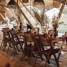 Tipi interior - tables and chairs
