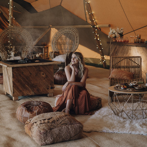 Tipi fireplace and chill out area