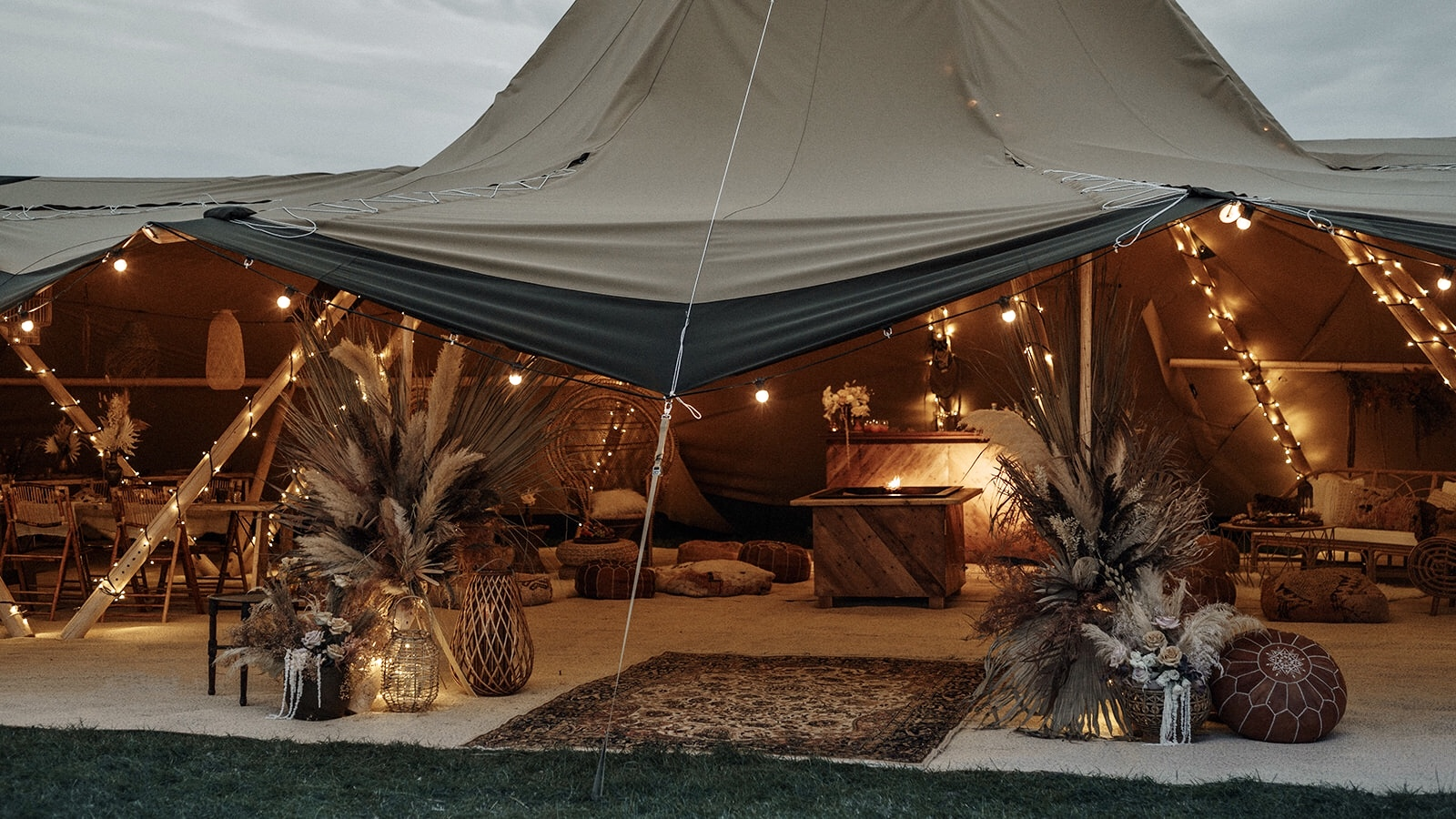 Tipi interiors at night