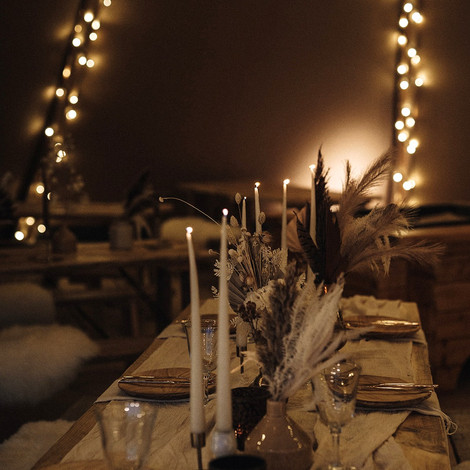 Rustic tipi interior - tablescapes