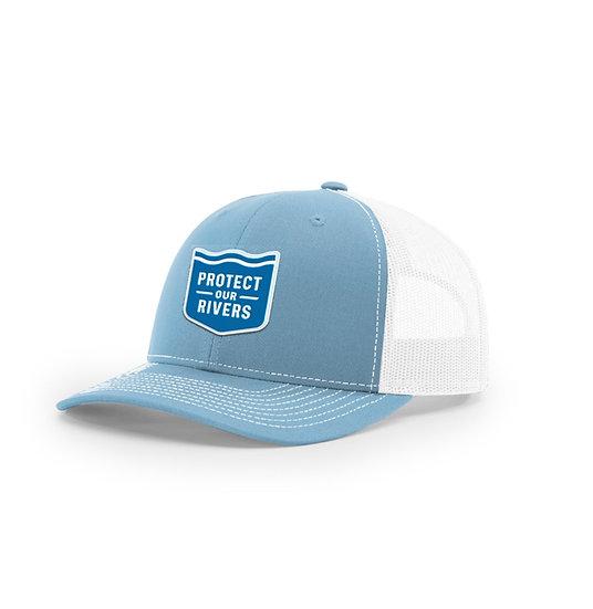 Whitewater Blue & White Trucker Hat - Mesh Back