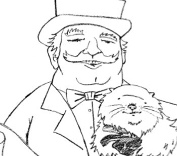 Picture of Punxsutawney Phil with man