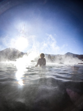 A hot spring. Geiser tour, San Pedro de Atacama, Chile