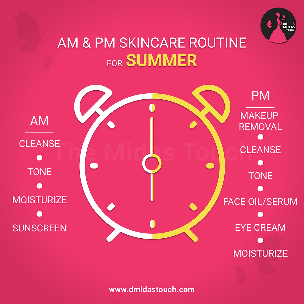 Summer AM and PM Skincare Routine for dry skin - D Midas Touch Beauty Tips