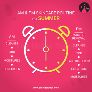 Summer AM and PM Skincare Routine for dry skin