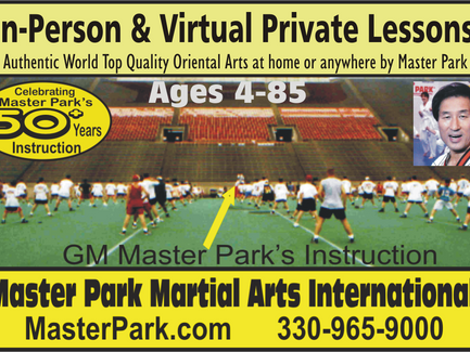 Master Park in-Person and Master Park On-line Live Martial Arts Training. Private, Family Classes!