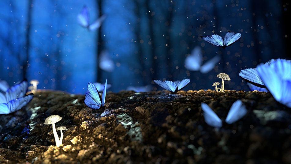 Blue butterflies and mushrooms growing in the luminescence.