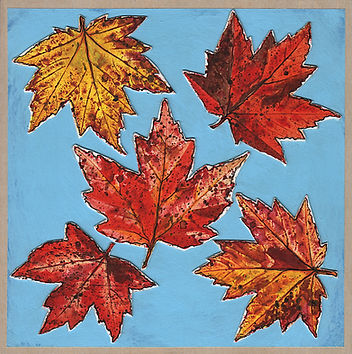 Mixed media painting on wood depicting bright yellow and red fall maple leaves against a blue sky.