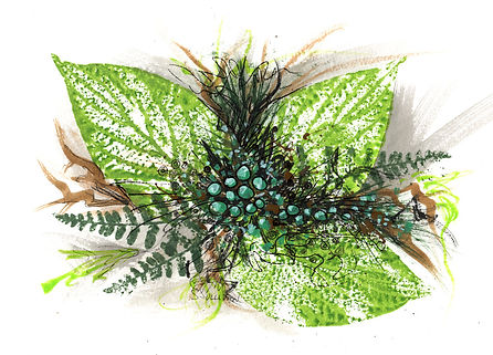 Art Card of leaves, ferns, and berries.  Mostly green and brown.