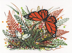 Mixed media on paper depicting fall meadow plants with Monarch and Cabbage White butterflies.