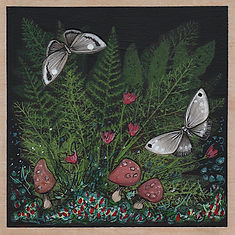 Small painting of a dark woodland scene featuring ferns, moths, and mushrooms.