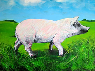 Photograph of a pig with a painted field background