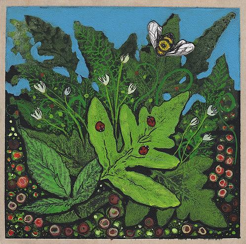 Woodland - Summer (Bee with three ladybugs)