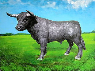 Photograph of a bull with a painted field background