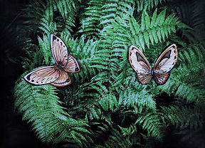 Digital Photo of ferns with collage paper butterflies