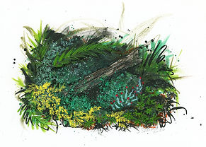 Expressive mixed media artwork of forest habitat