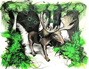 Mixed Media art of a moose on a woodland paths
