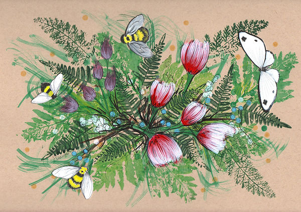 Artwork of flowers, plants, collage paper bumble bees and butterflie on toned paper.
