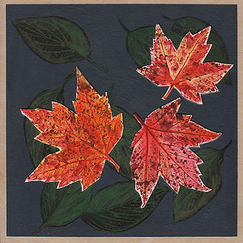 Mixed media painting on wood depicting three red maple leaves against a deep grey background with deep green leaves.