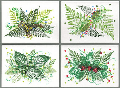 Image of four hand painted botanical plant cards.  Colors are mostly green with red, blue, of yellow details.