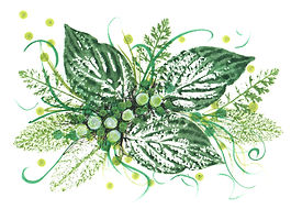 Hand painted card of green leaves with ferns, brush strokes, and dots on white paper.
