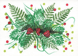 Hand painted card depicting green leaves, strawberries, dots and brush strokes.