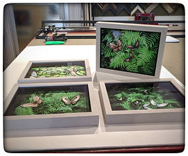 Shadowbox framed collages of ferns with butterflies