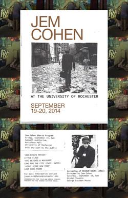 Jem Cohen Film Series poster, 2014