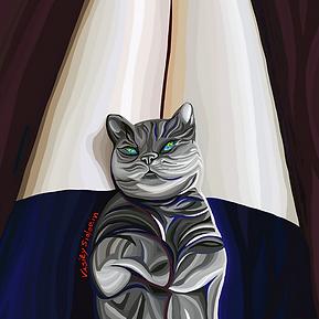 Котик на коленках | Василий Сидорин | VASILY SIDORIN | картина маслом | sidorin.info | Artmagic