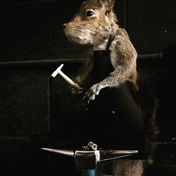 Metalsmith squirrel is twinsies with her owner.  Thank you Morbid Anatomy Museum for the wonderful t