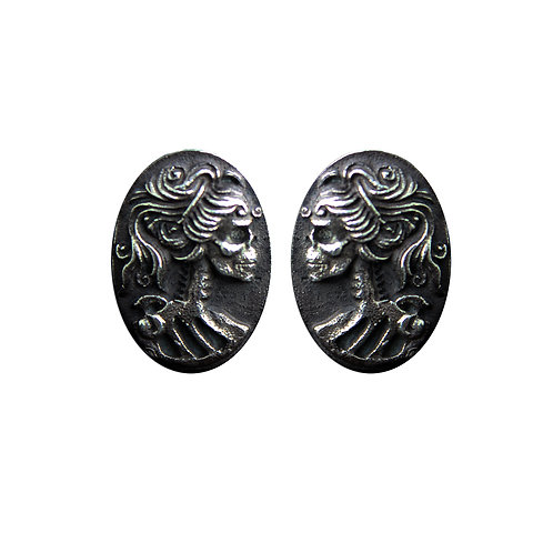 Cameo Sterling Silver Studs