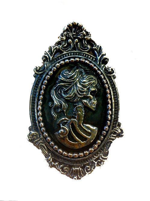 Solid Brass Skeleton Cameo Coat Brooch